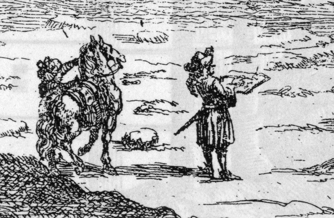 """Autoritratto di un picaresco Kaempfer """"in the fields"""". Pare di vedere un Don Chisciotte trapiantato in Asia."""