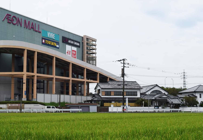 Only in Japan: uno smisurato centro commerciale affianca un piccolo tempio buddista. Attorno è solo riso e foreste di bambù.