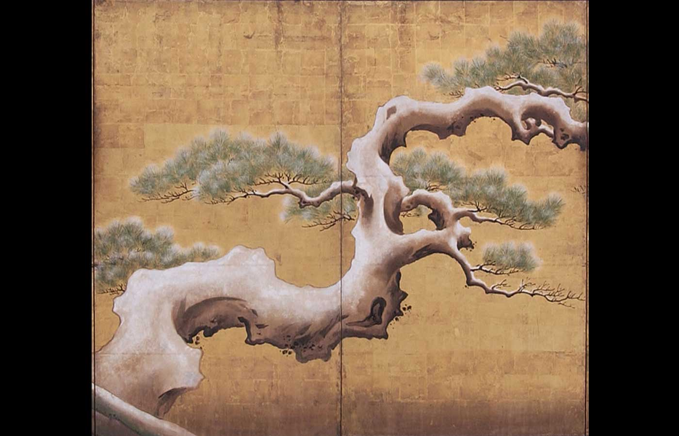Detail of a Japanese folding screen <i>byōbu</i>, depicting a snow clad pine.