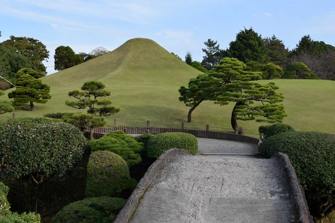 Miniaturised landscapes at Suizen-ji Garden. Black pines evoke mountainous sceneries.
