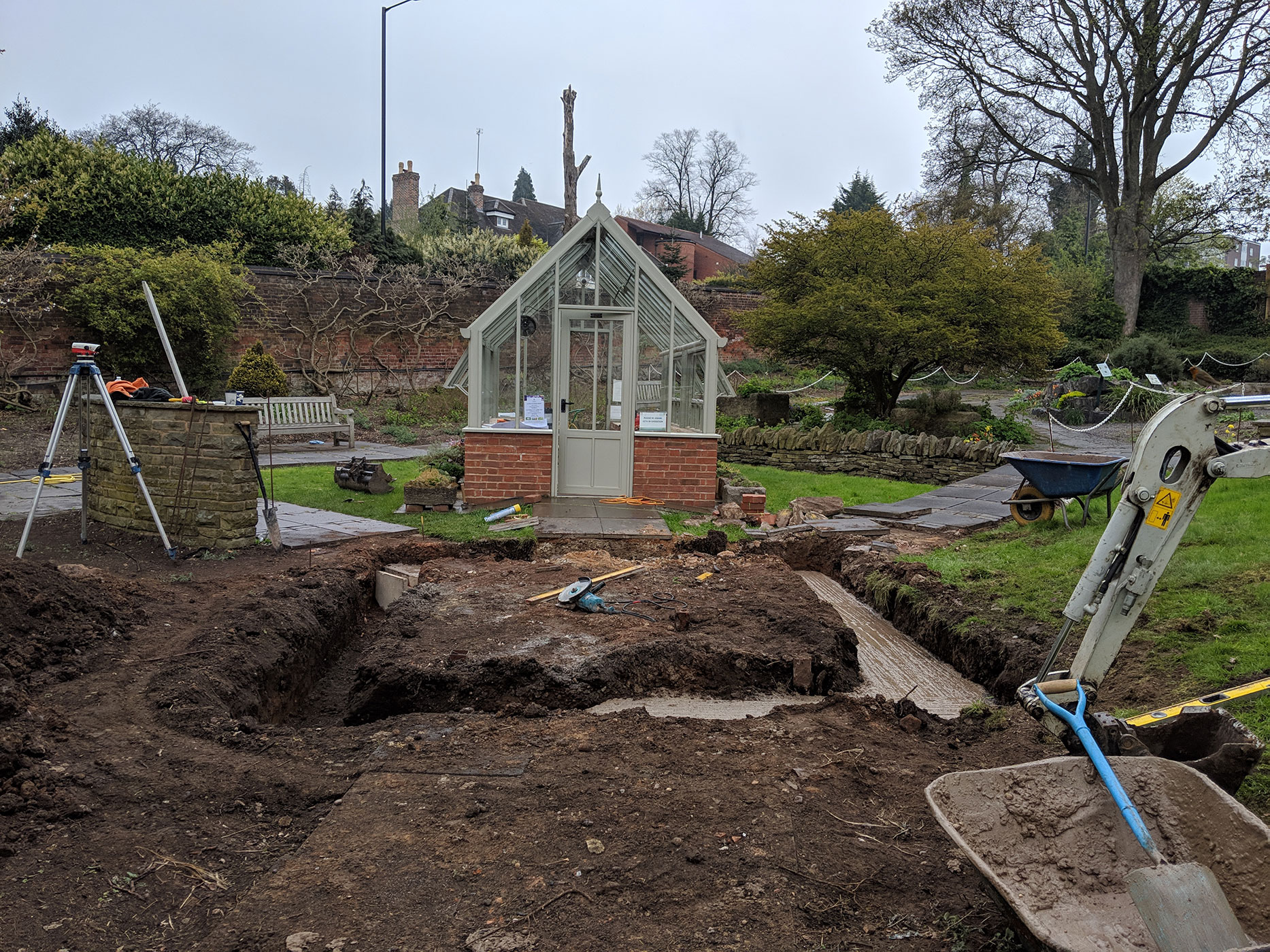 The foundation of the new glasshouse.