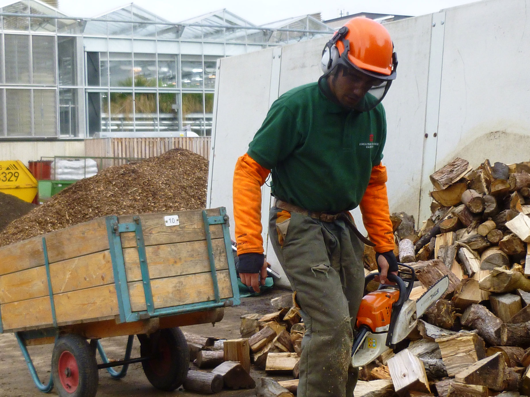 Cross-cutting by the compost area