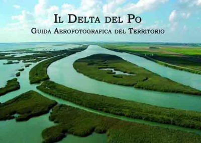 The River Po delta. Writing on water and skies